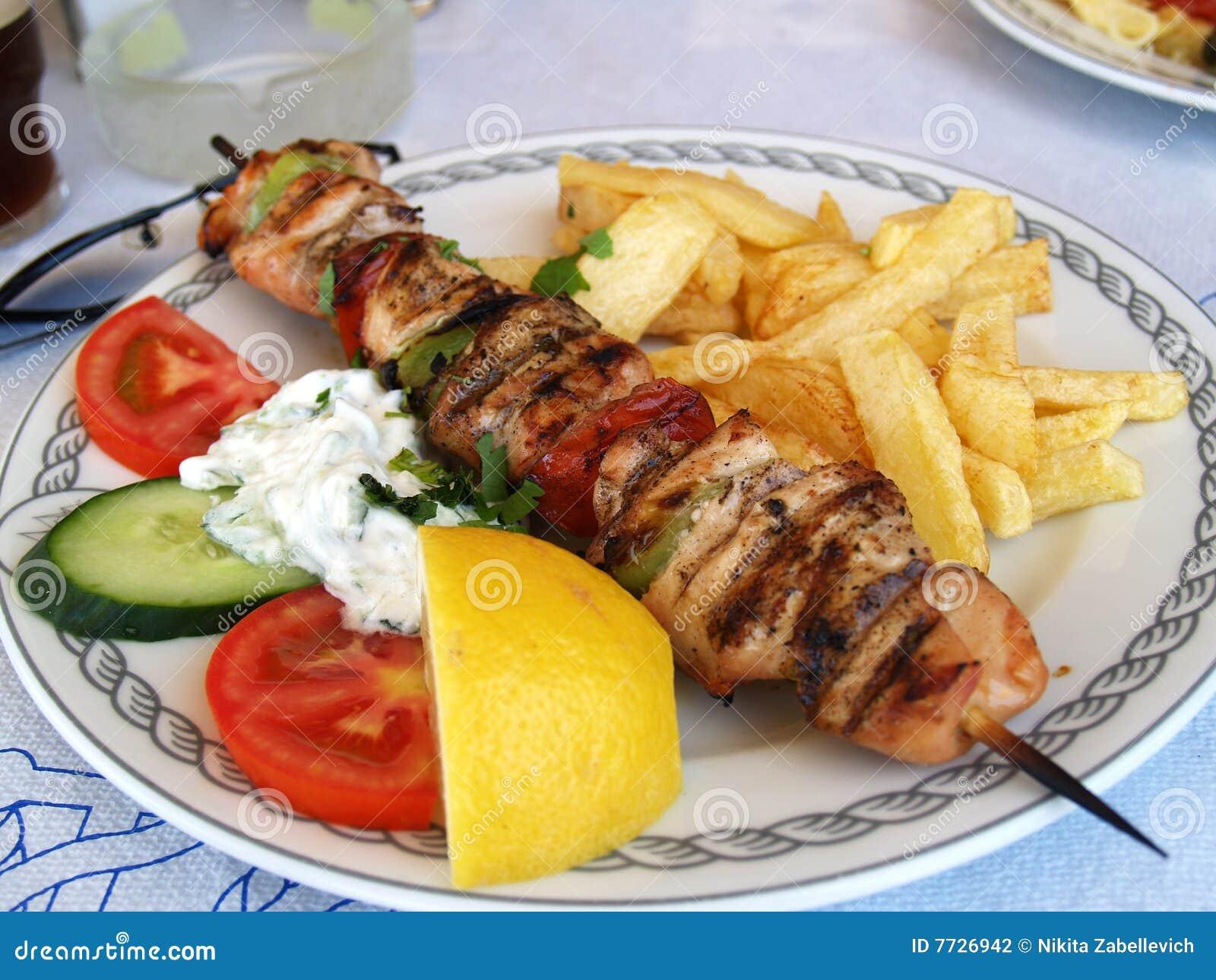 Souvlaki greco del porco del pasto