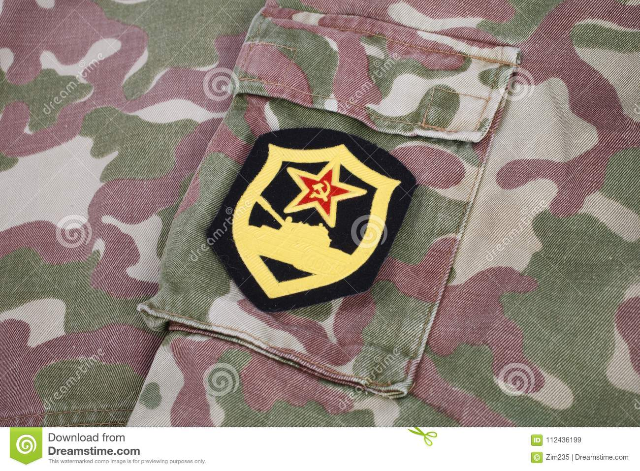 Soviet Army Tank Corps Shoulder Patch On Camouflage Uniform