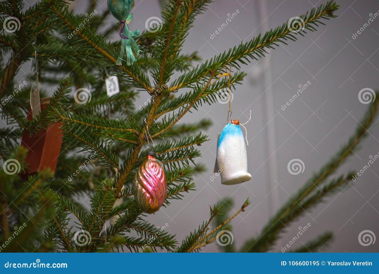 Soviet decorations hang on Christmas tree