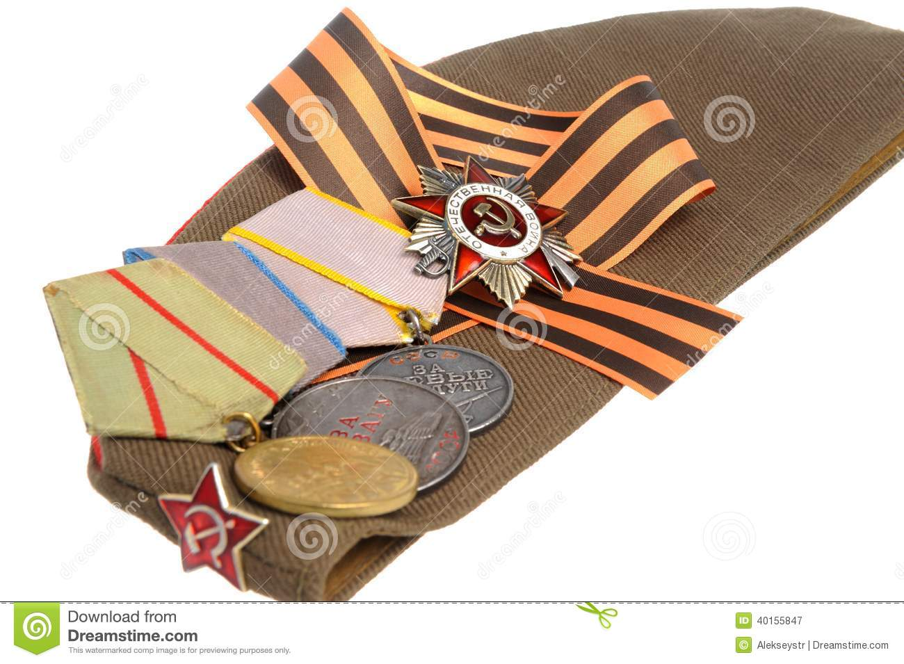 Military cap with saint george ribbon and medals of great patriotic
