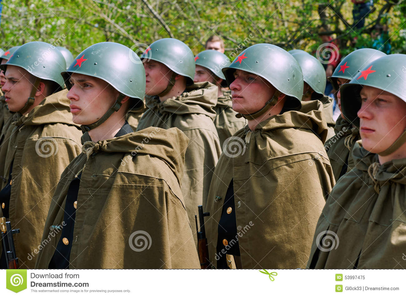 Soviet Soldiers In Helmets And Cloaks Editorial Image - Image of