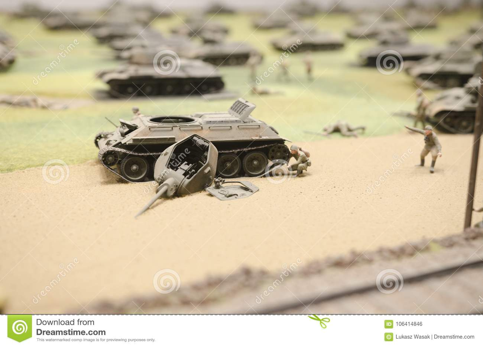 Soviet Tank Wreck After Operation Prokhorovka, 1943 Stock Photo