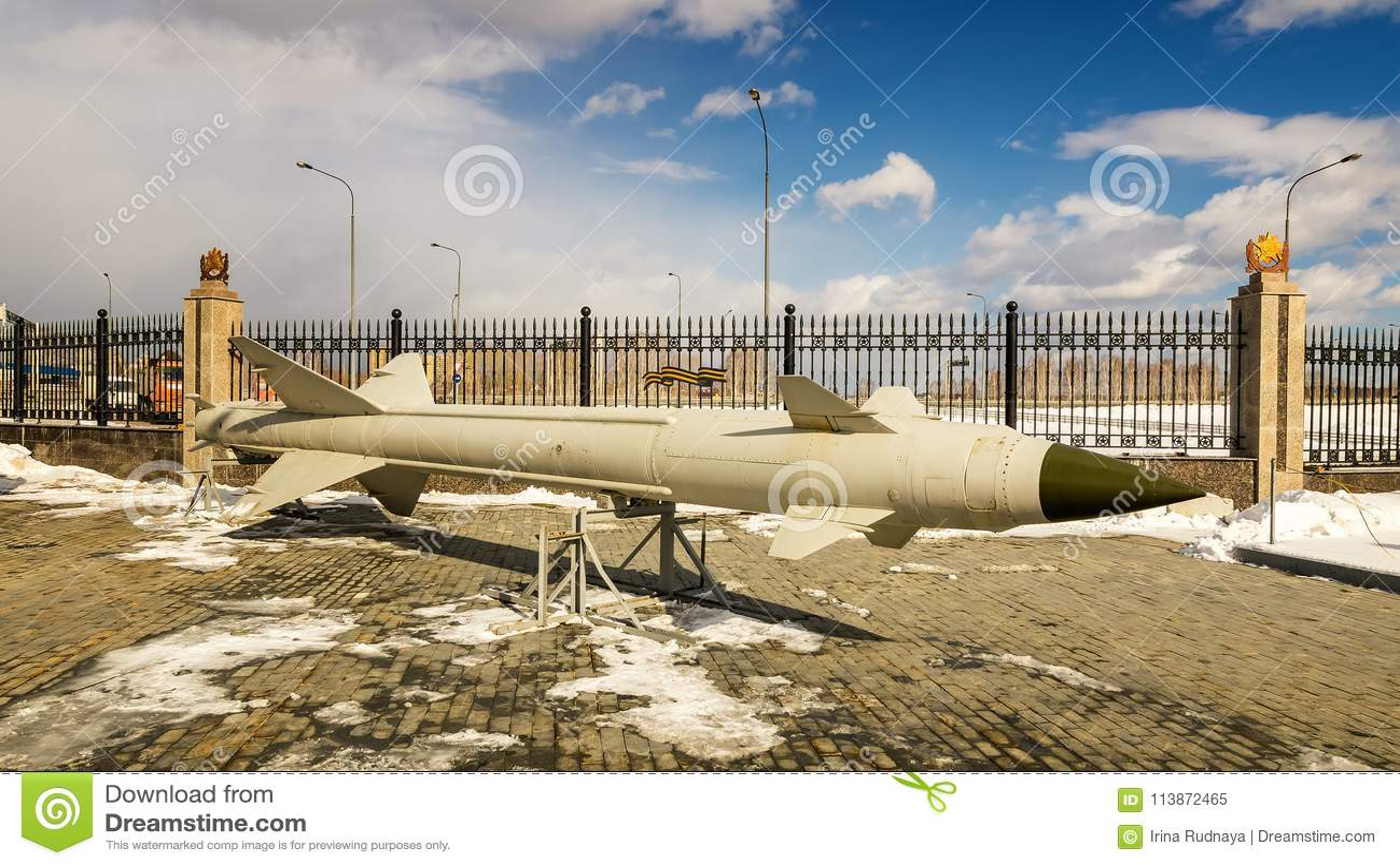 Sovjetisk missil-enutställning för strid av museet för militär historia, Ryssland, Ekaterinburg, 31 03 2018