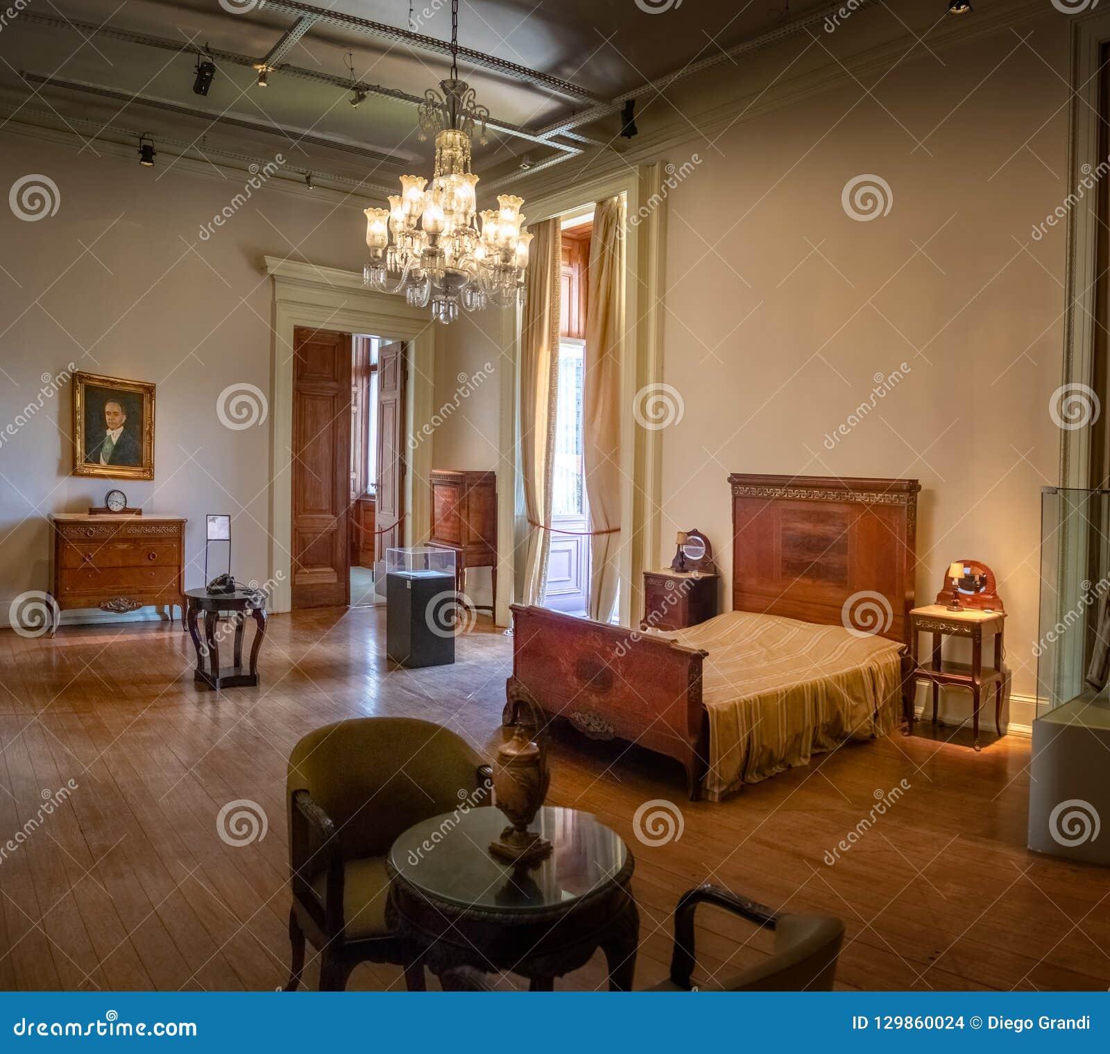 Sovrum för president Getulio Vargas på den Catete slotten - republikmuseum - Rio de Janeiro, Brasilien