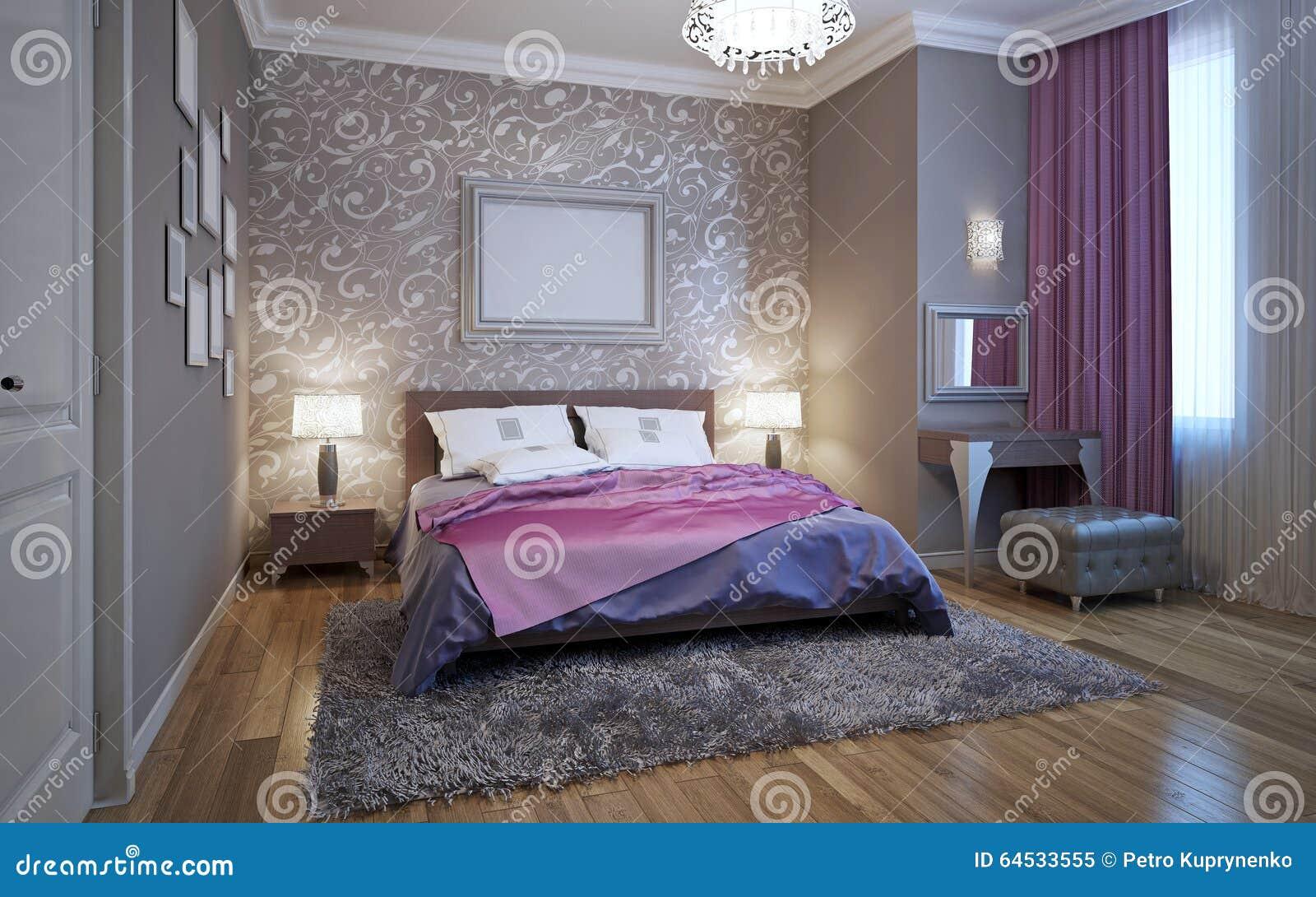 Sovrum för tolkning 3d i grå färg  och vitsignaler arkivfoto ...