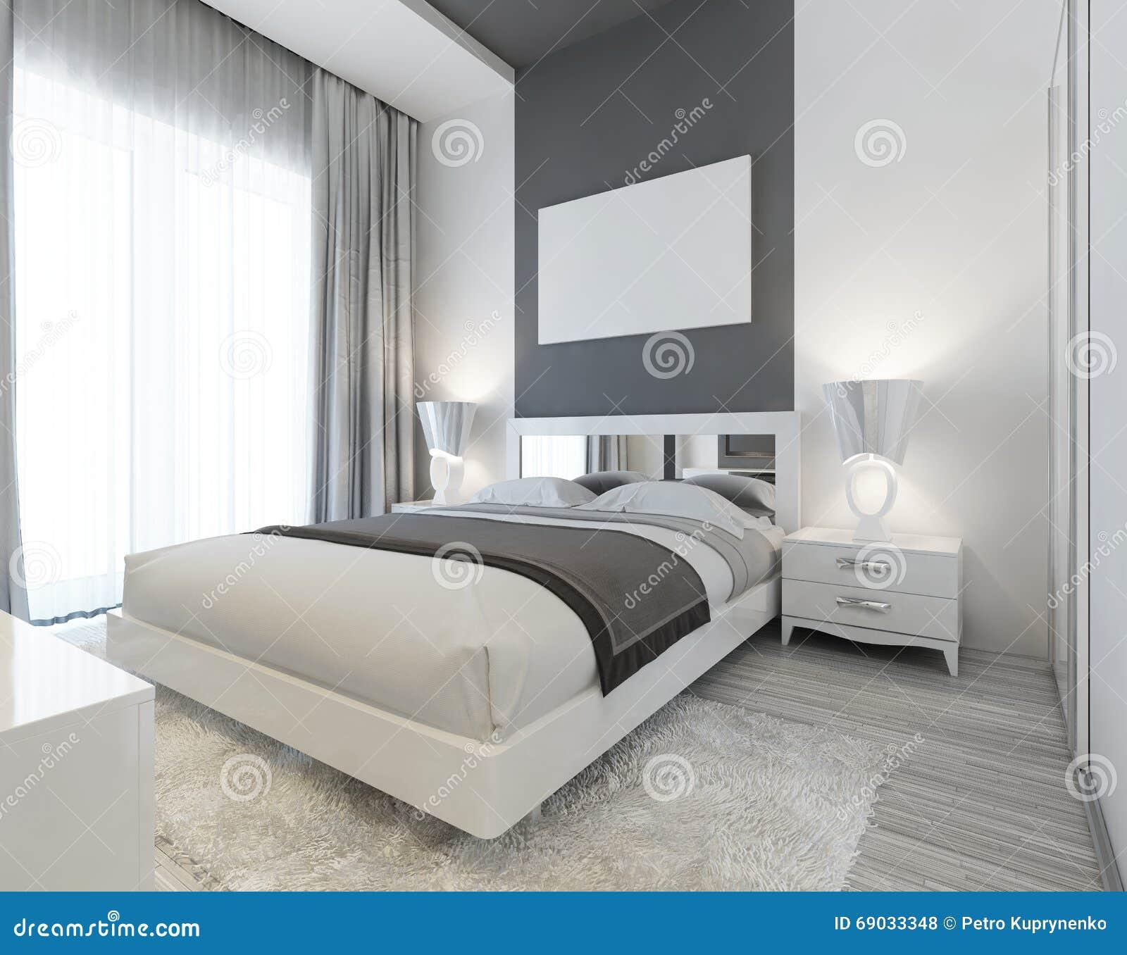 Sovrum i art deco stil i vit  och grå färgfärger stock ...