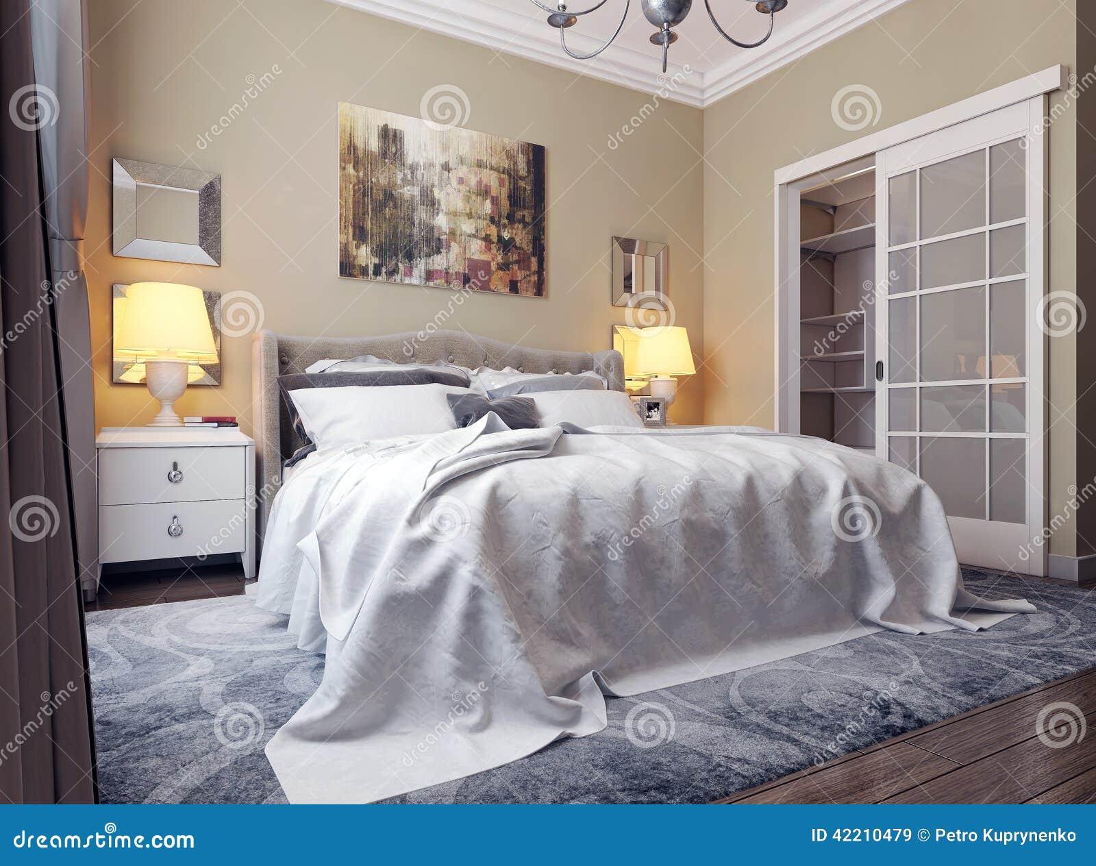 Sovrum I Neoclassicismstil Stock Illustrationer - Bild: 42210479