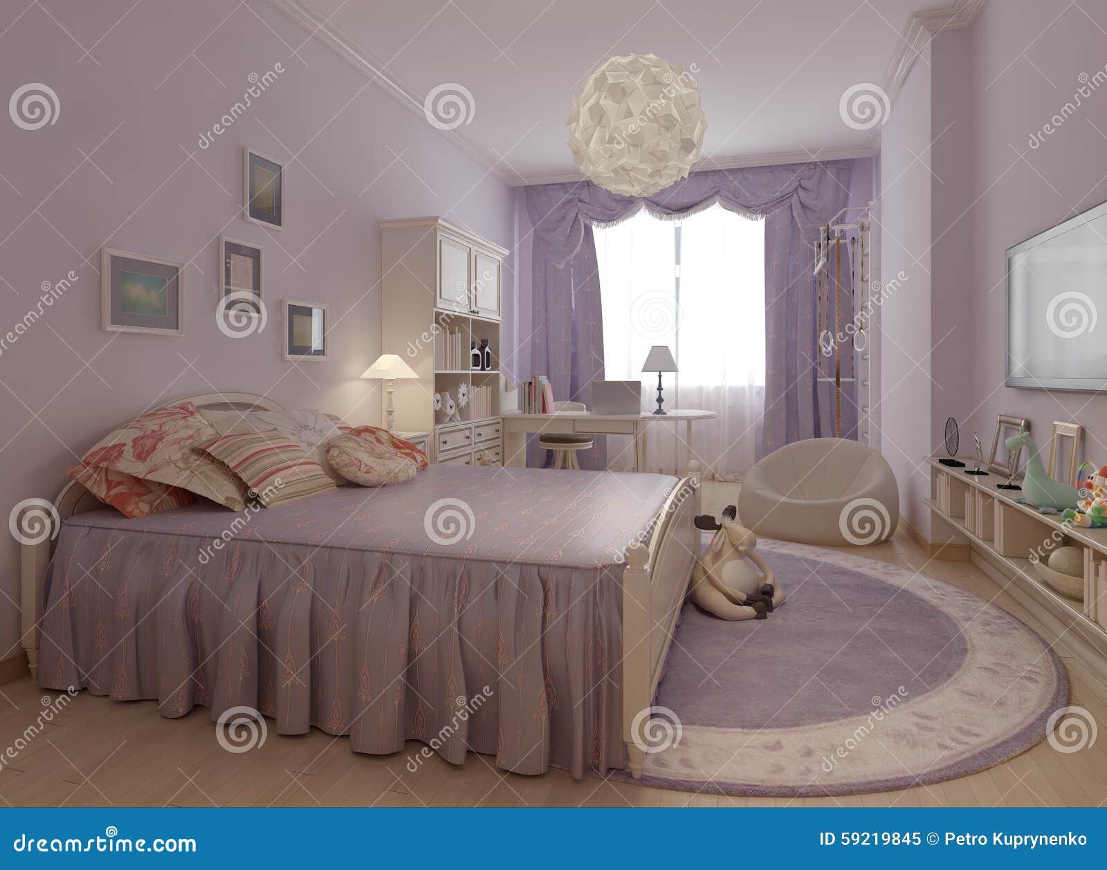 Sovrum i provence stil stock illustrationer   bild: 59219845