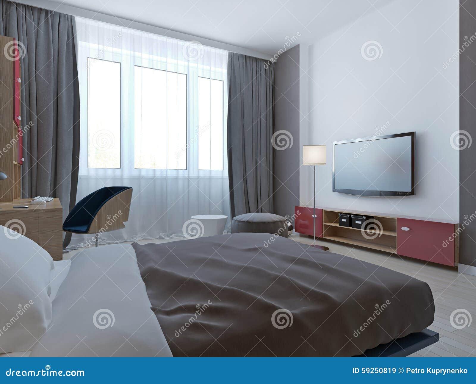 Sovrum med den gråa väggar och nischen stock illustrationer   bild ...