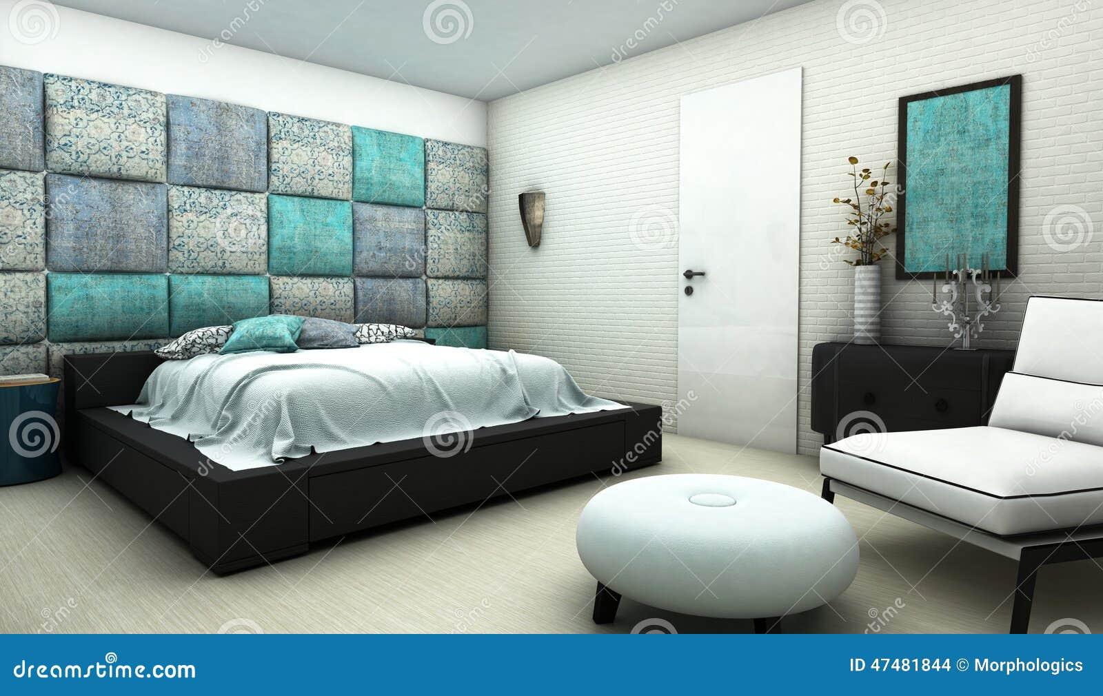 Sovrum Med Den Orientaliska Modelltextilväggen Stock ...