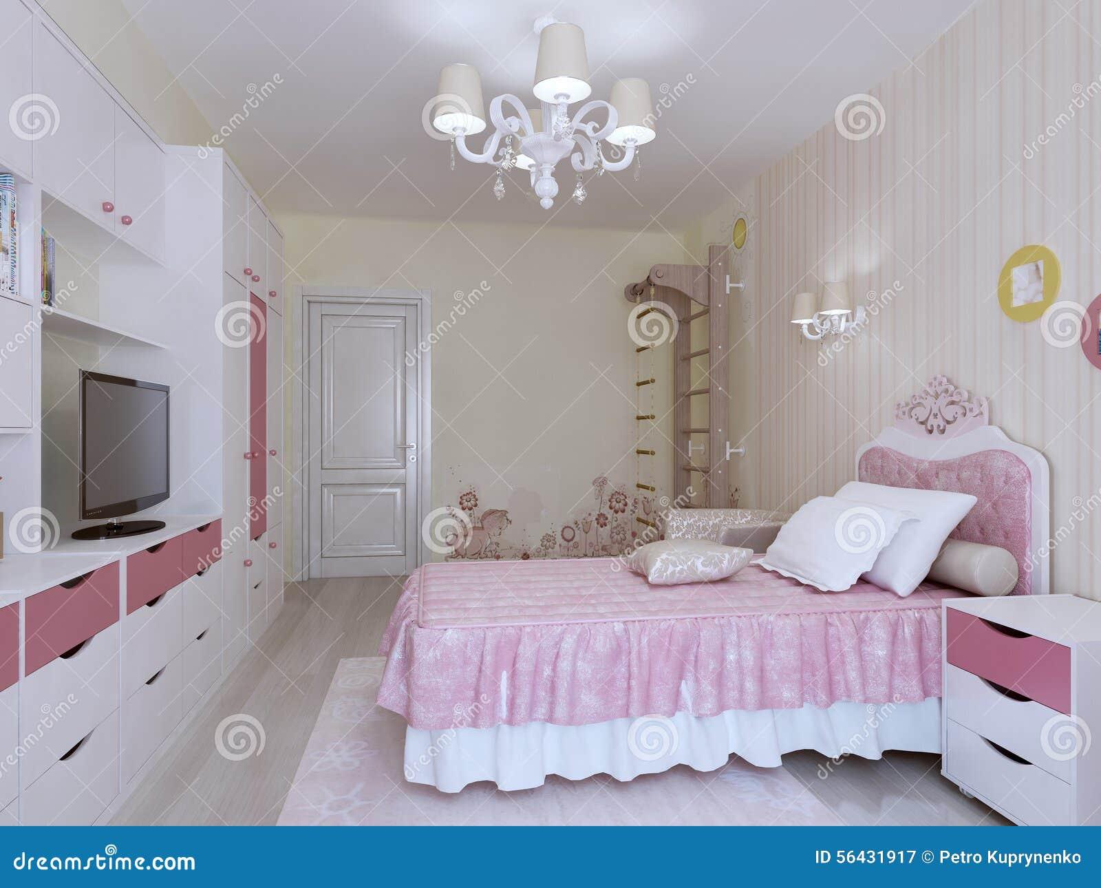 Sovrum med den svenska vägginre stock illustrationer   bild: 56431917