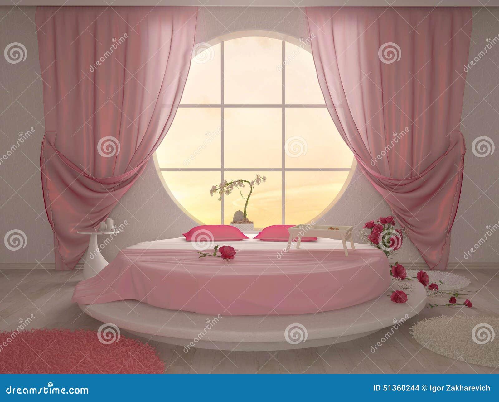Sovrum med ett runt fönster stock illustrationer   bild: 51360244