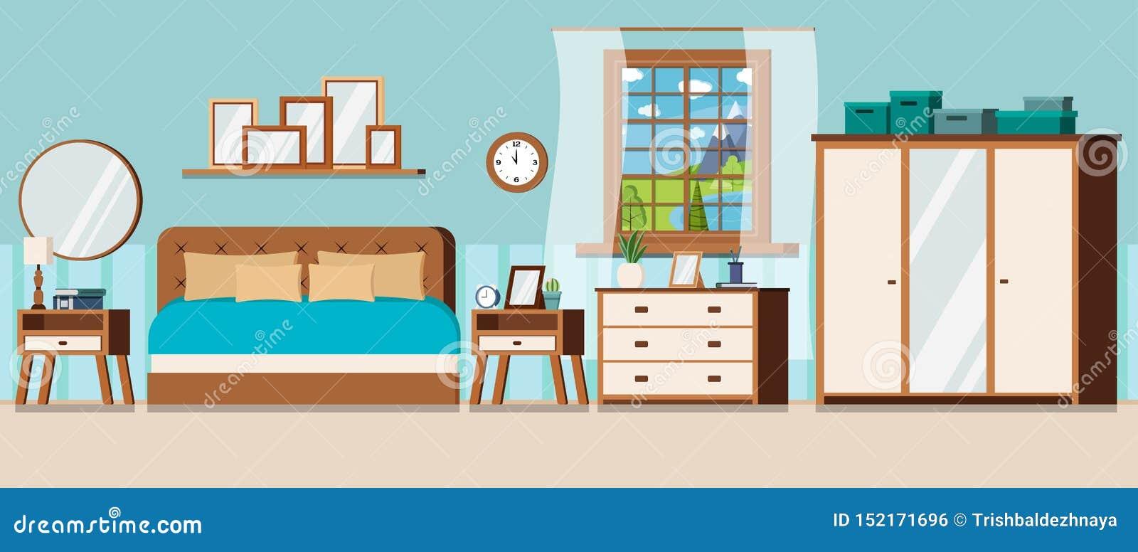 Sovrum med fönstersikt av landskapet för sommardag