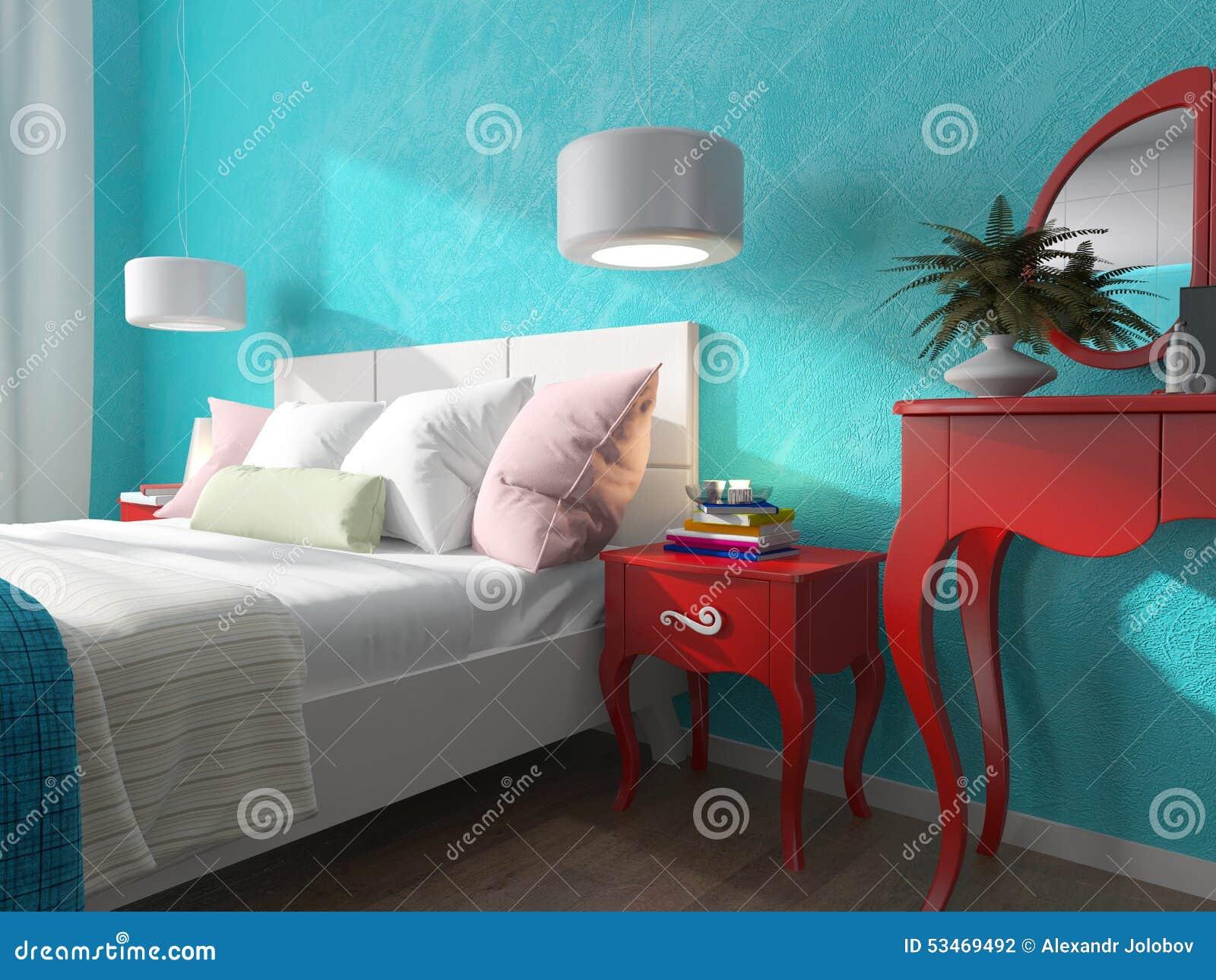Sovrum med turkosväggar och nattduksbord stock illustrationer ...