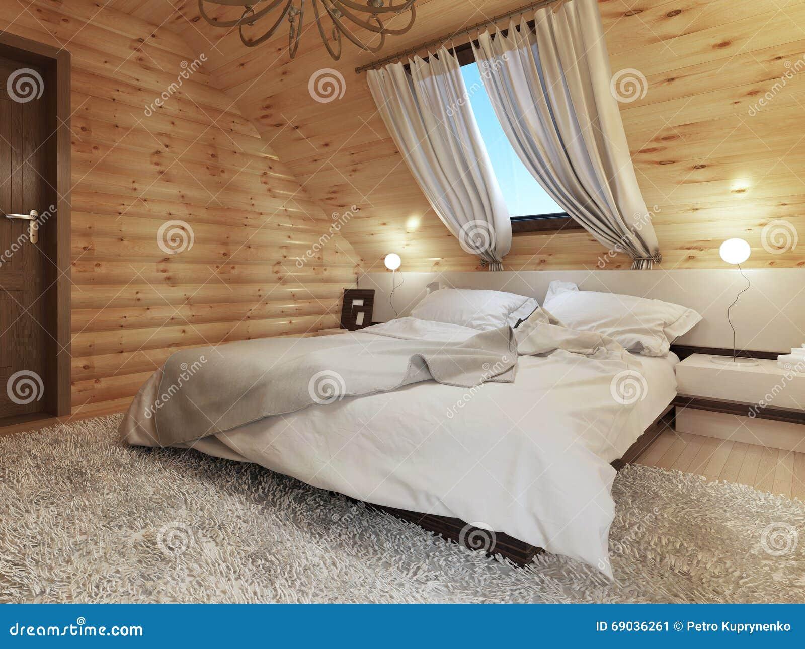 Sovruminre i en inloggning loftgolvet med ett takfönster stock ...