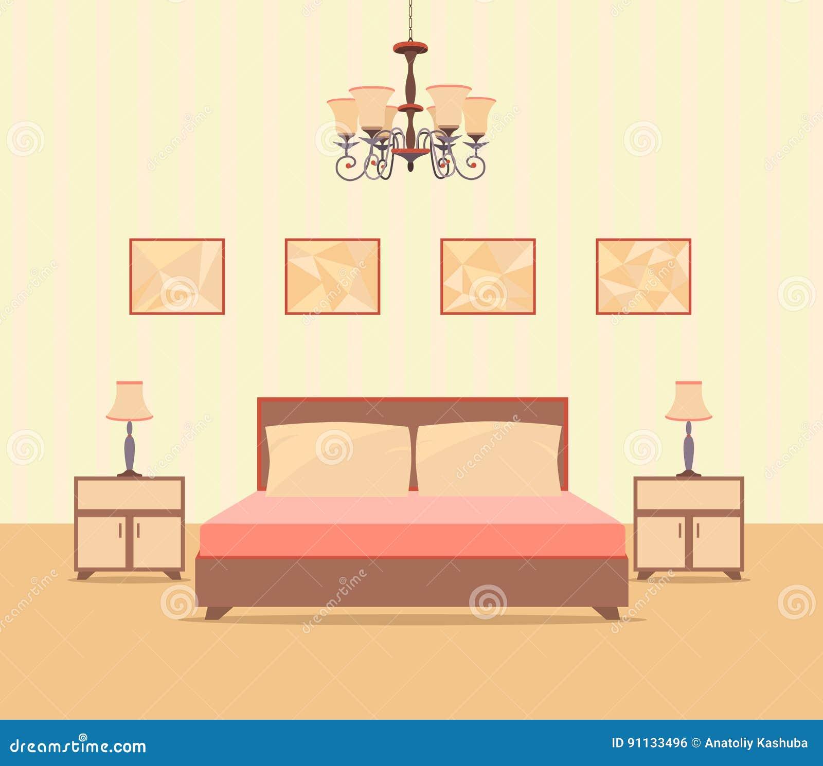 Sovruminredesign i plan stil inklusive säng, tabellen, lampor, nightstands och bildramar