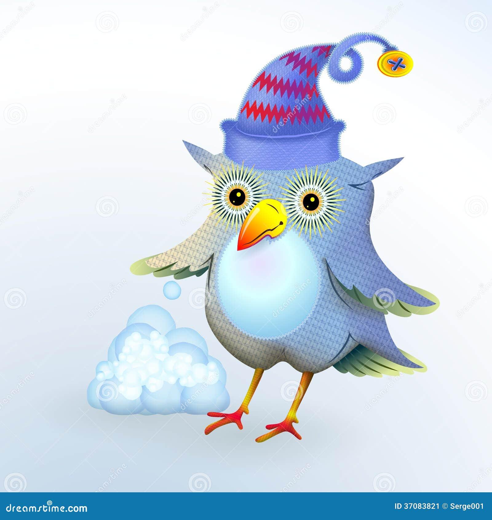Download Sowa i śnieg ilustracji. Ilustracja złożonej z snowflake - 37083821