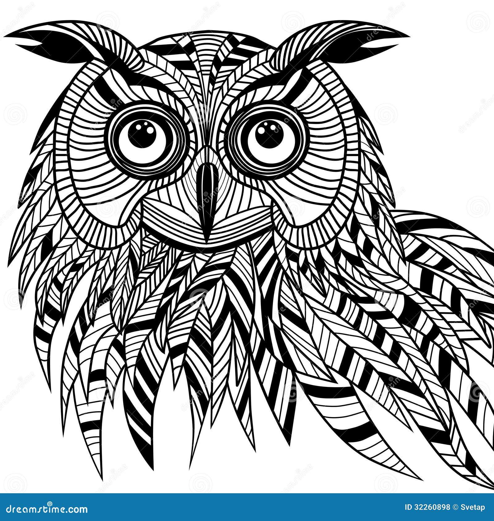 Sowa Ptaka Głowa Jako Halloween Symbol Dla Maskotki Lub