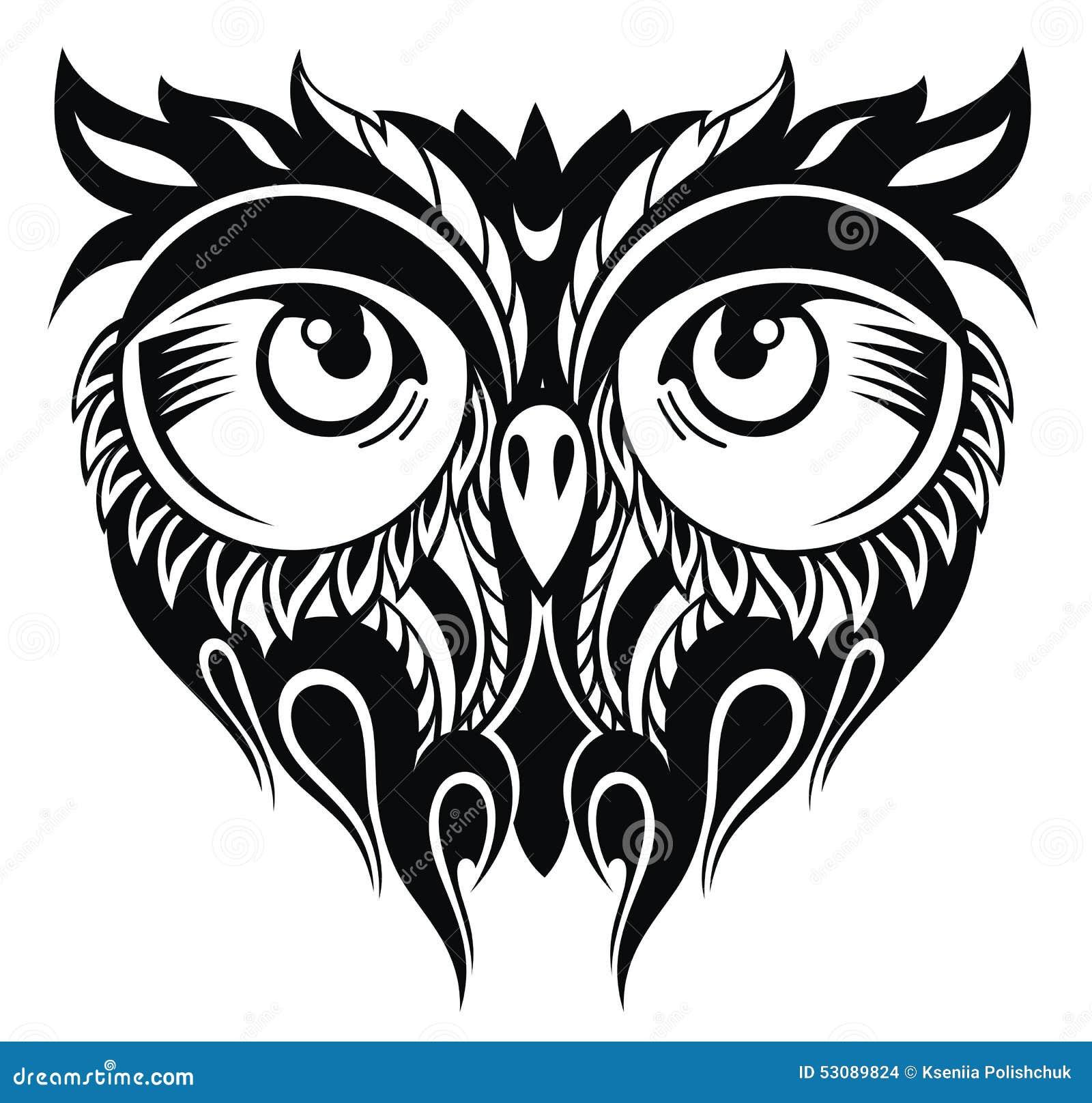 Sowa W Tatuażu Stylu Ilustracja Wektor Ilustracja Złożonej