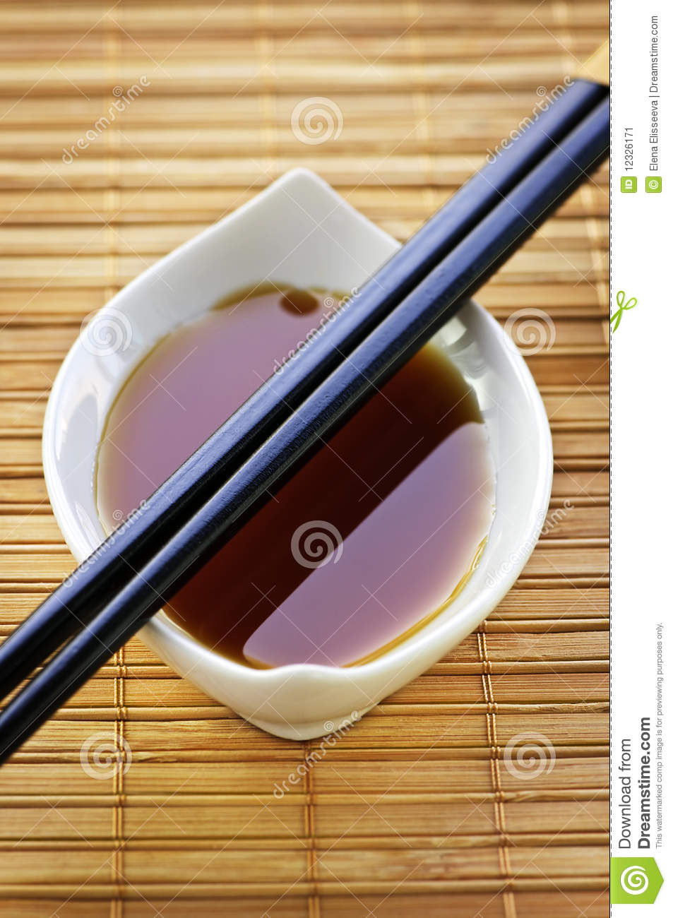 Soy sauce with chopsticks stock image. Image of detail ...