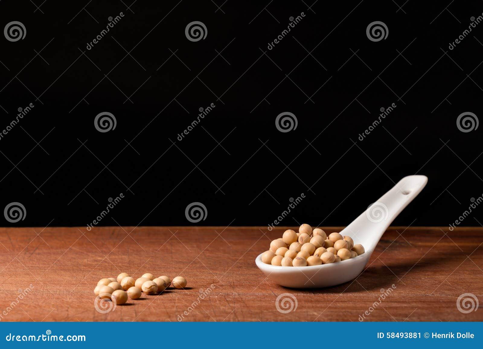 Soya bean on a spoons