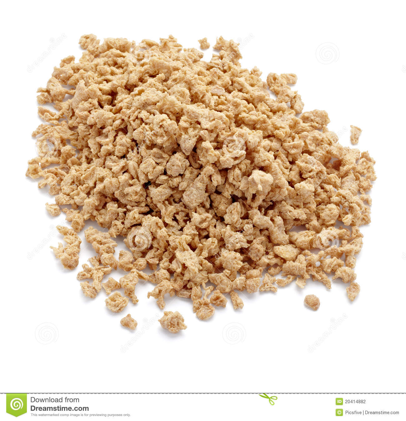 Close up of soya flakes on white background with clipping path.