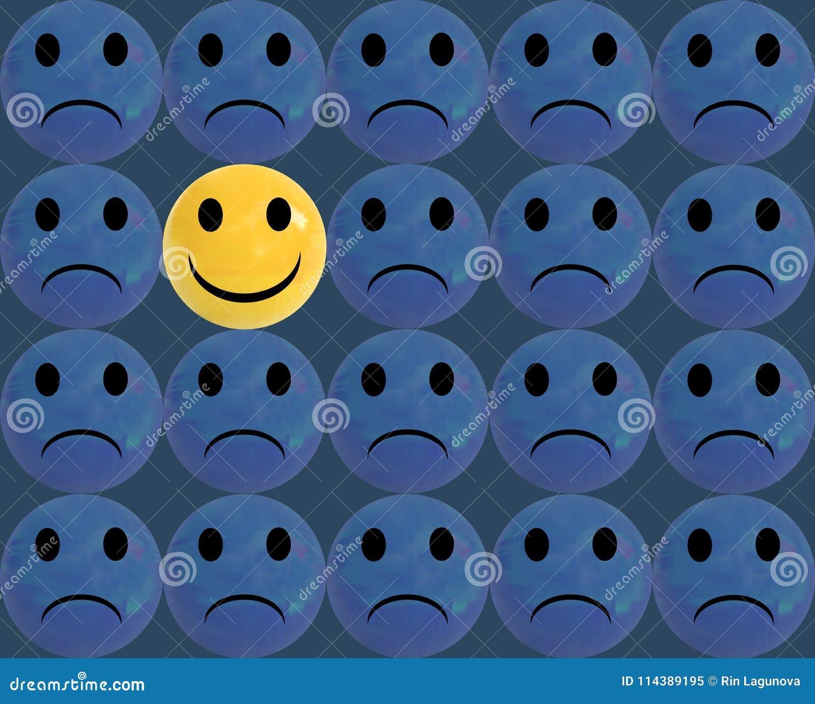 Soyez différent, illustration de VECTEUR, Smiley Faces Glossy Balls Background