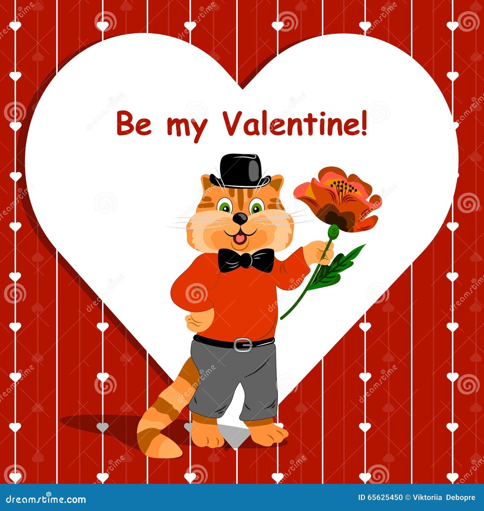 Soyez ma carte de lettrage de Valentine avec le chat mignon de gingembre tenant une fleur gentille sur le fond d amour