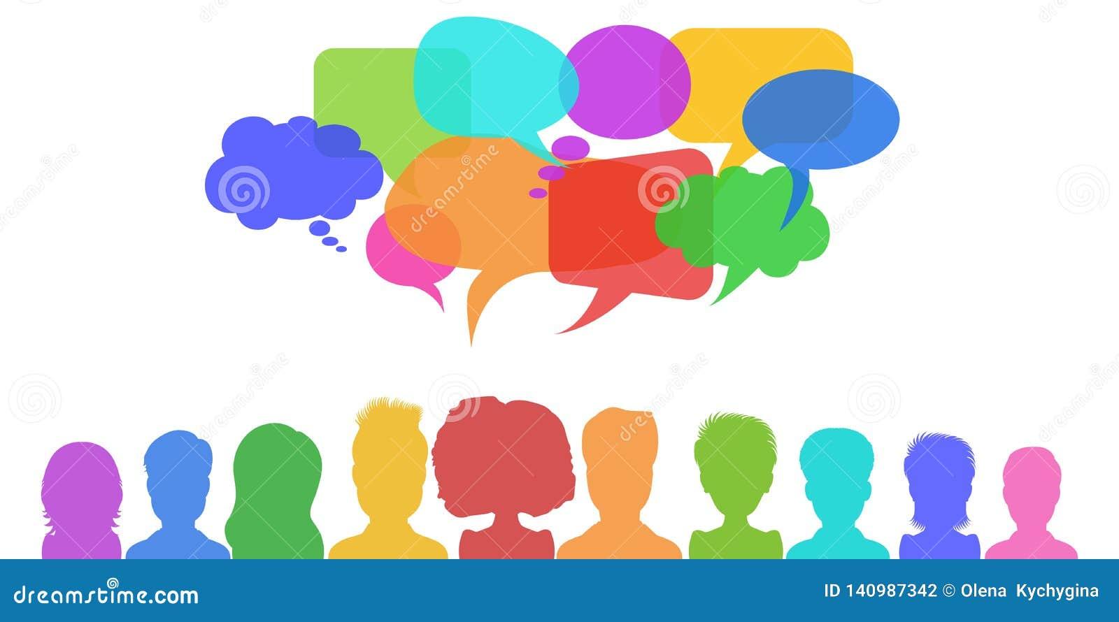 Soziales Netz, Nachrichten oder Teamwork-Dialoggeschäftskonzept mit Spracheblasen Flacher Artvektor