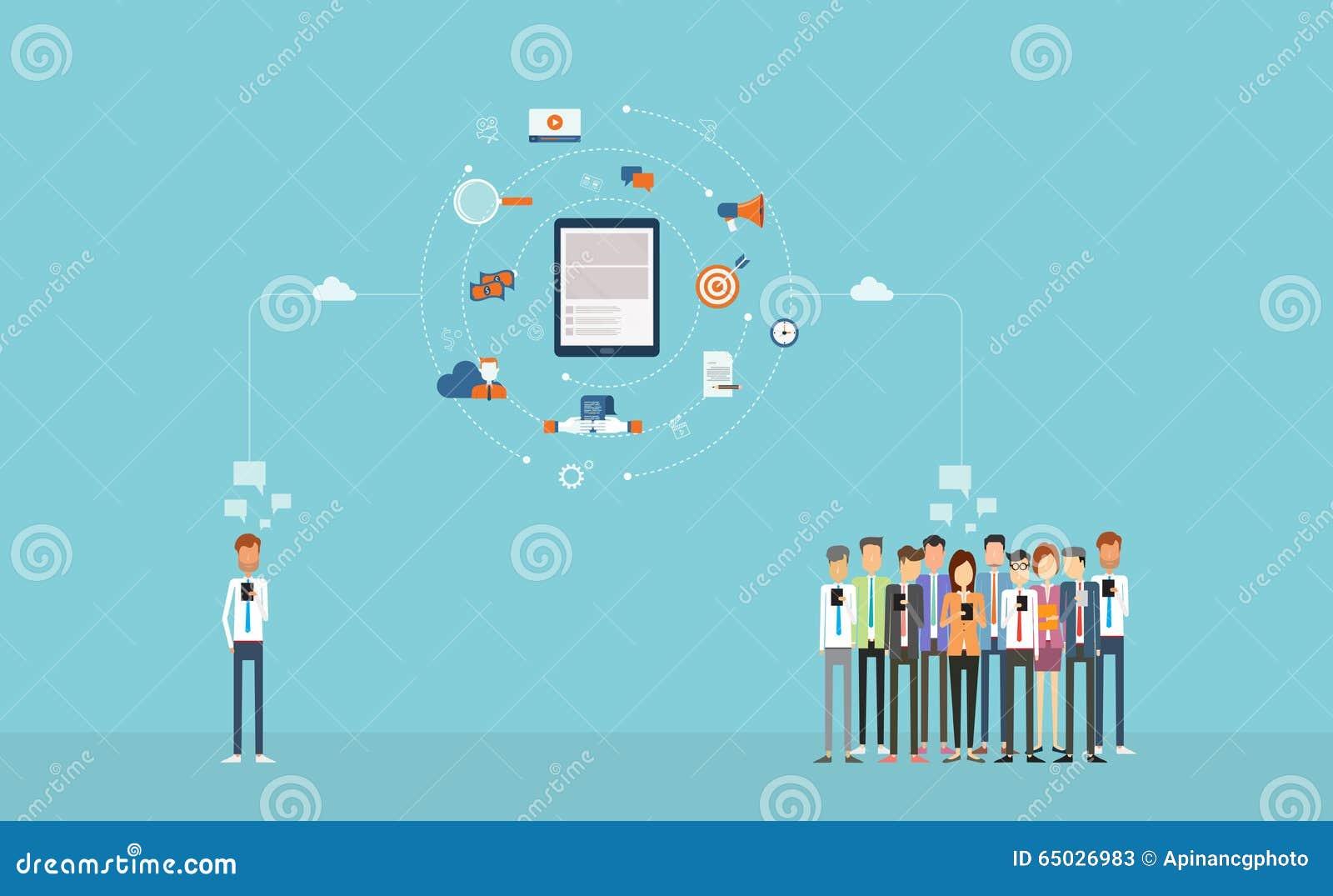 Sozialgeschäftsverbindung auf Mobile Geschäftson-line-Marketing Auf weißem Hintergrund Wolkennetz Rückseitige Ansicht über getren
