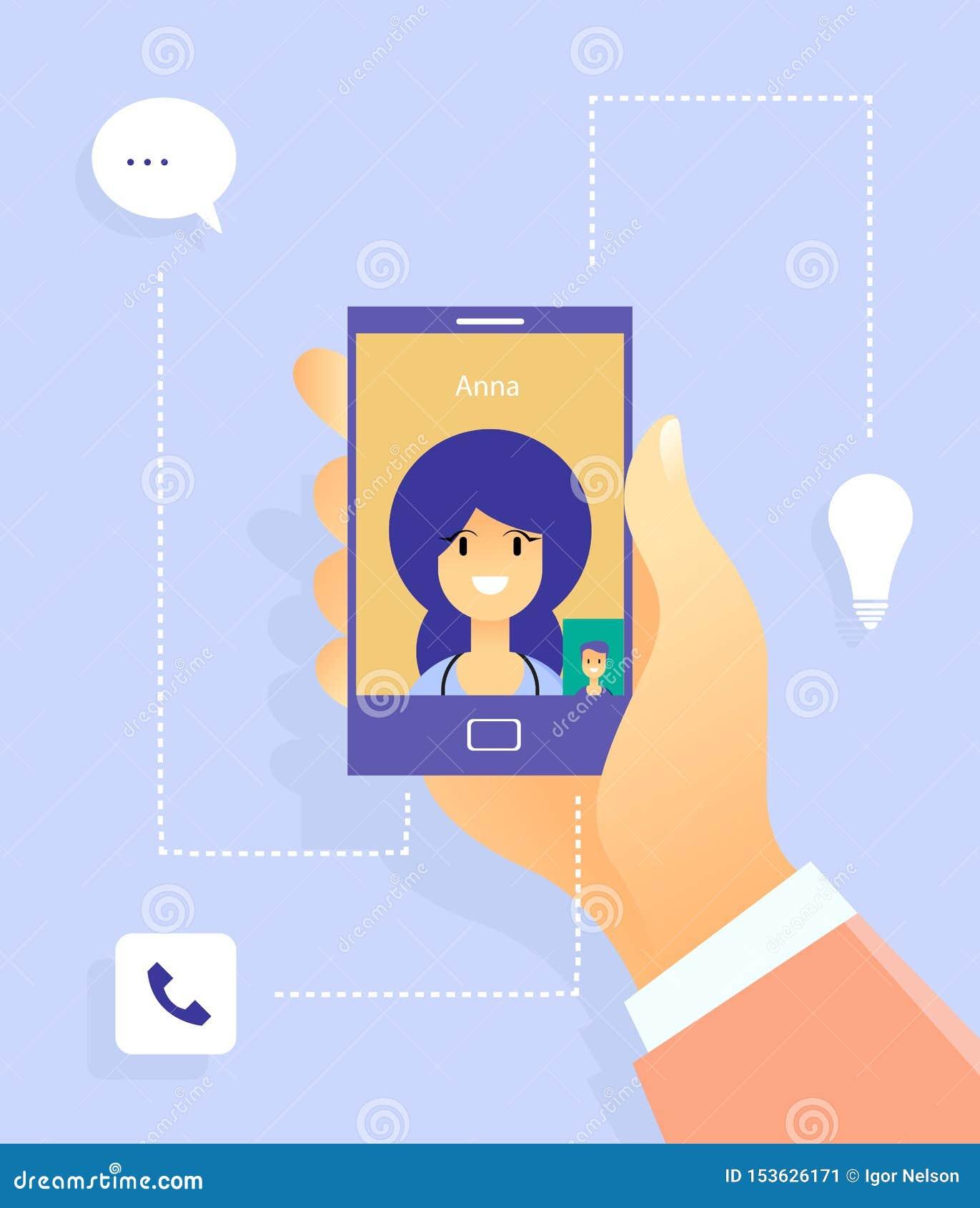 Sozialkommunikation mit Frau Plaudern zur Welt mithilfe der modernen Technologien Taube als Symbol der Liebe, pease