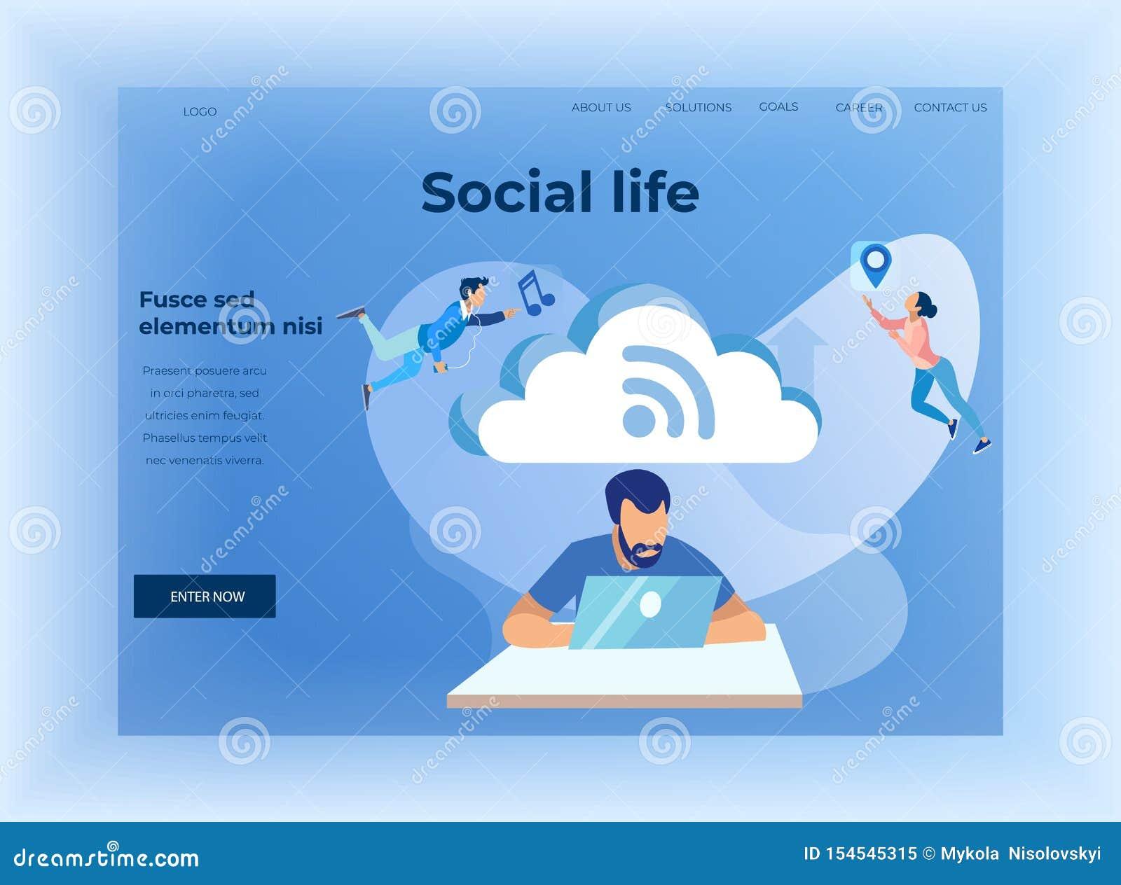 Soziallebens-und Wolken-Speicher-Entwurfs-Landungs-Seite