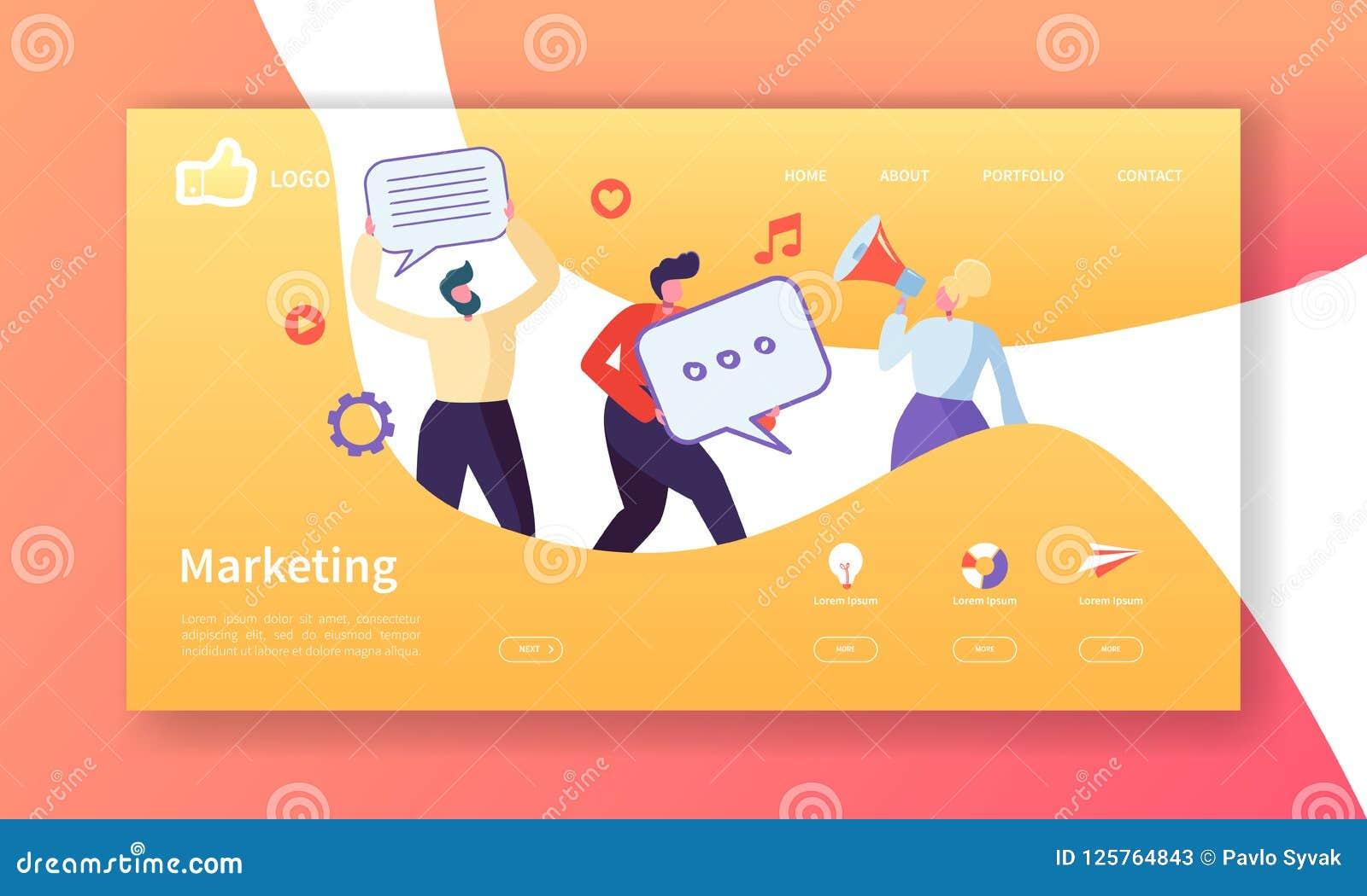 Sozialmarketing-Landungs-Seiten-Schablone Website-Plan mit der flachen Leute-Charakter-Werbung Einfach zu redigieren
