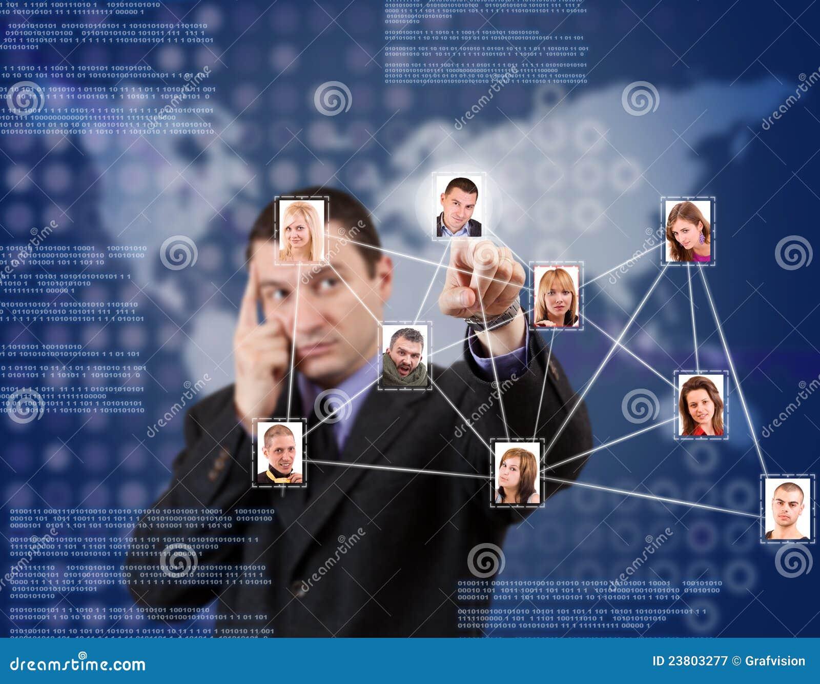 Sozialnetz im blauen Hintergrund