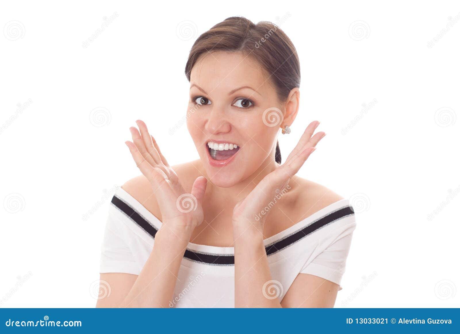 Spännande kvinna med ett förvånadt