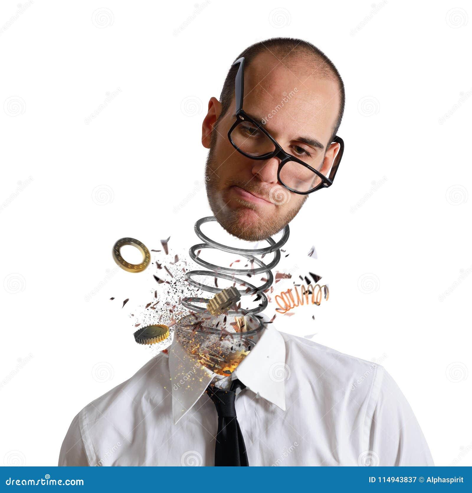 Spännings- och överansträngningbegrepp Explosion av ett huvud av en affärsman