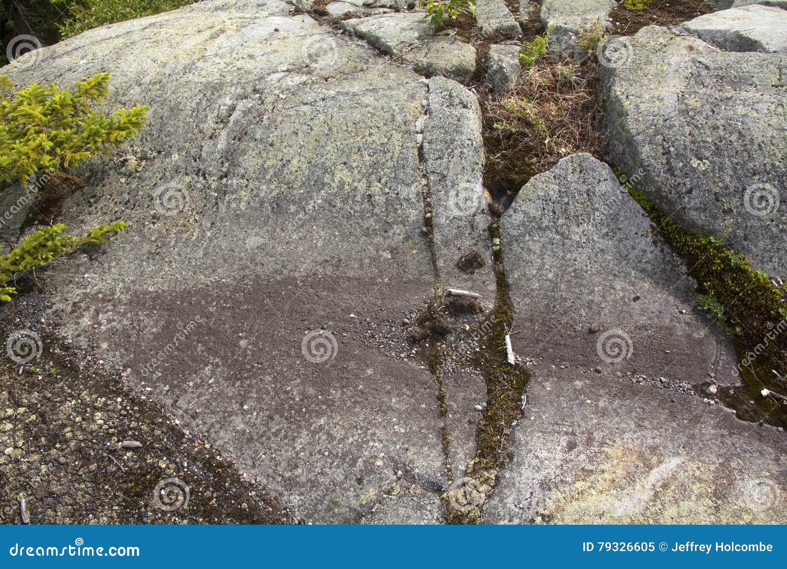 Is- spår i granitberggrund, Mt Kearsarge New Hampshire