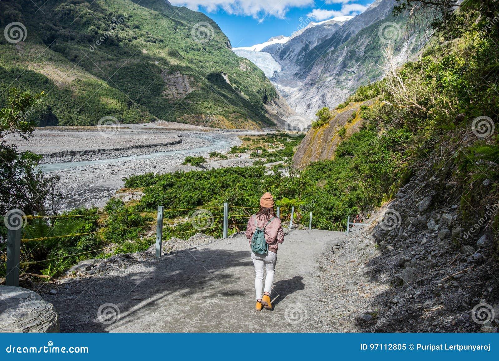 Spår på Franz Josef Glacier, Nya Zeeland