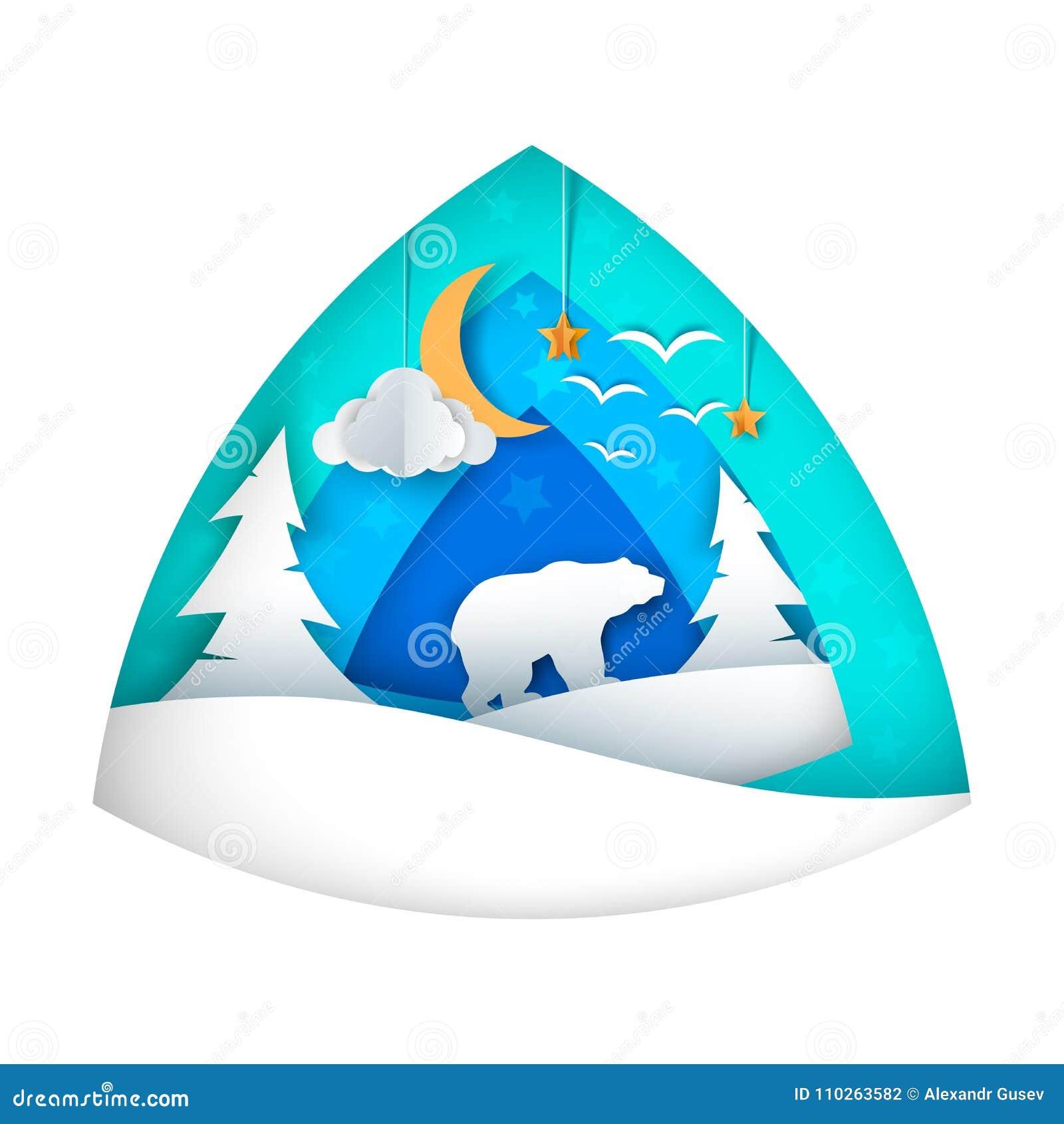 Spójrz biegunowy bear Kreskówki niedźwiadkowa ilustracja Księżyc, chmura, gwiazda, ptak, jodła