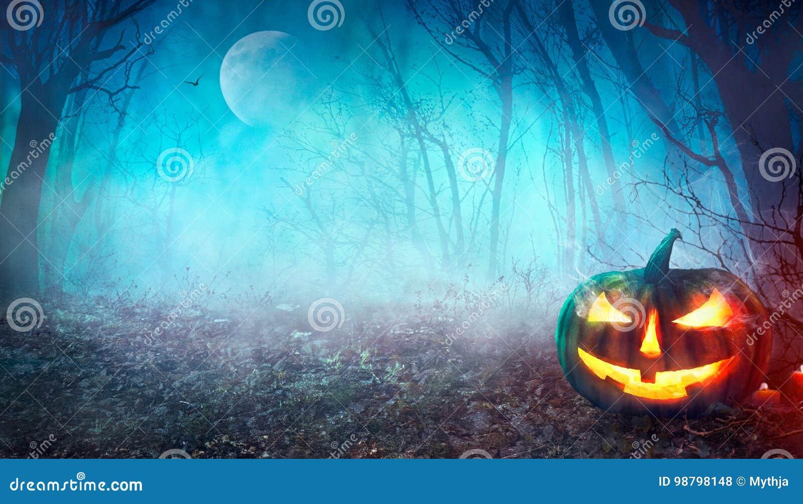 Spöklik skog för allhelgonaafton