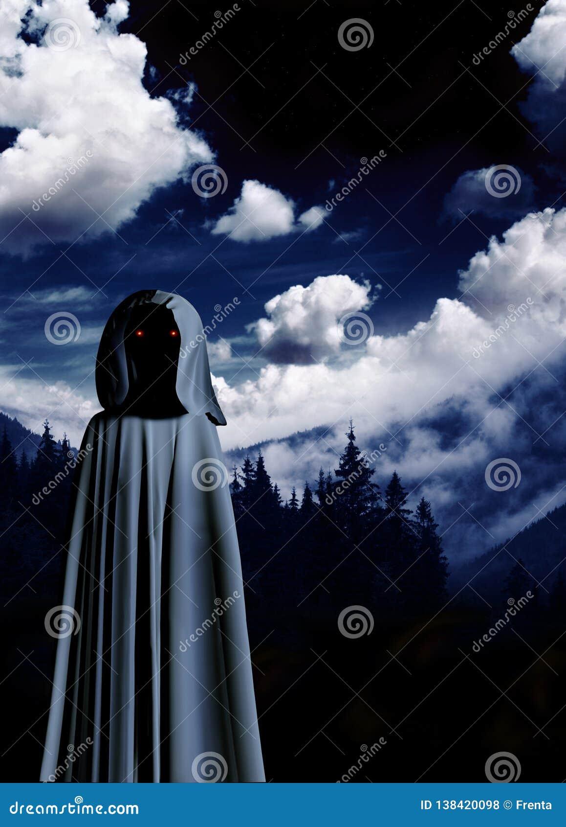 Spöklikt monster i med huva kappa i dimmigt landskap