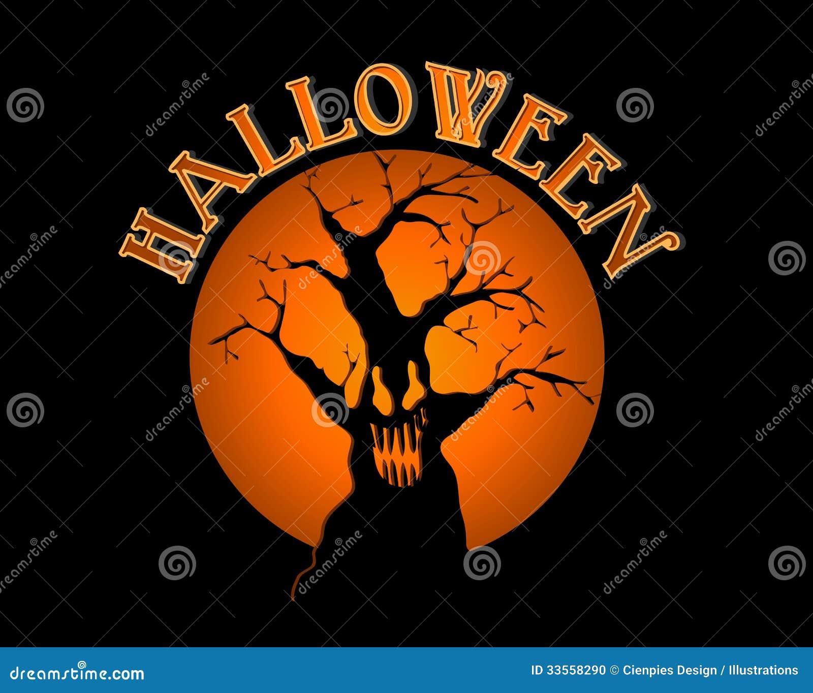 Spöklikt träd för allhelgonaaftontext över orange måneillust