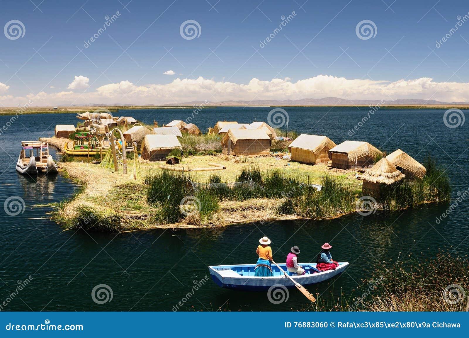 Spławowych wysp jeziorni Peru titicaca uros