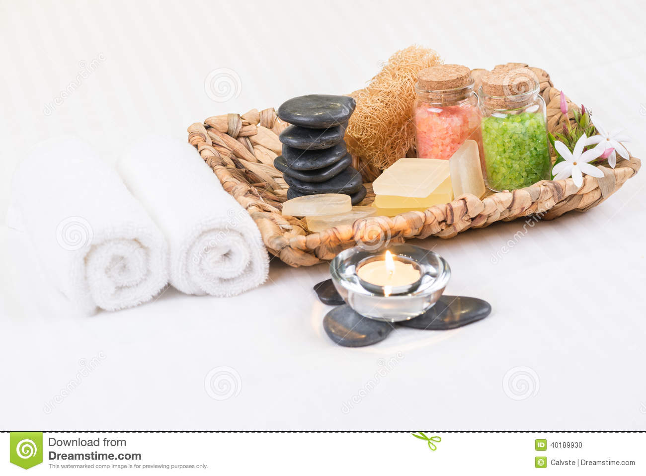 Spa amenities in a basket close-up