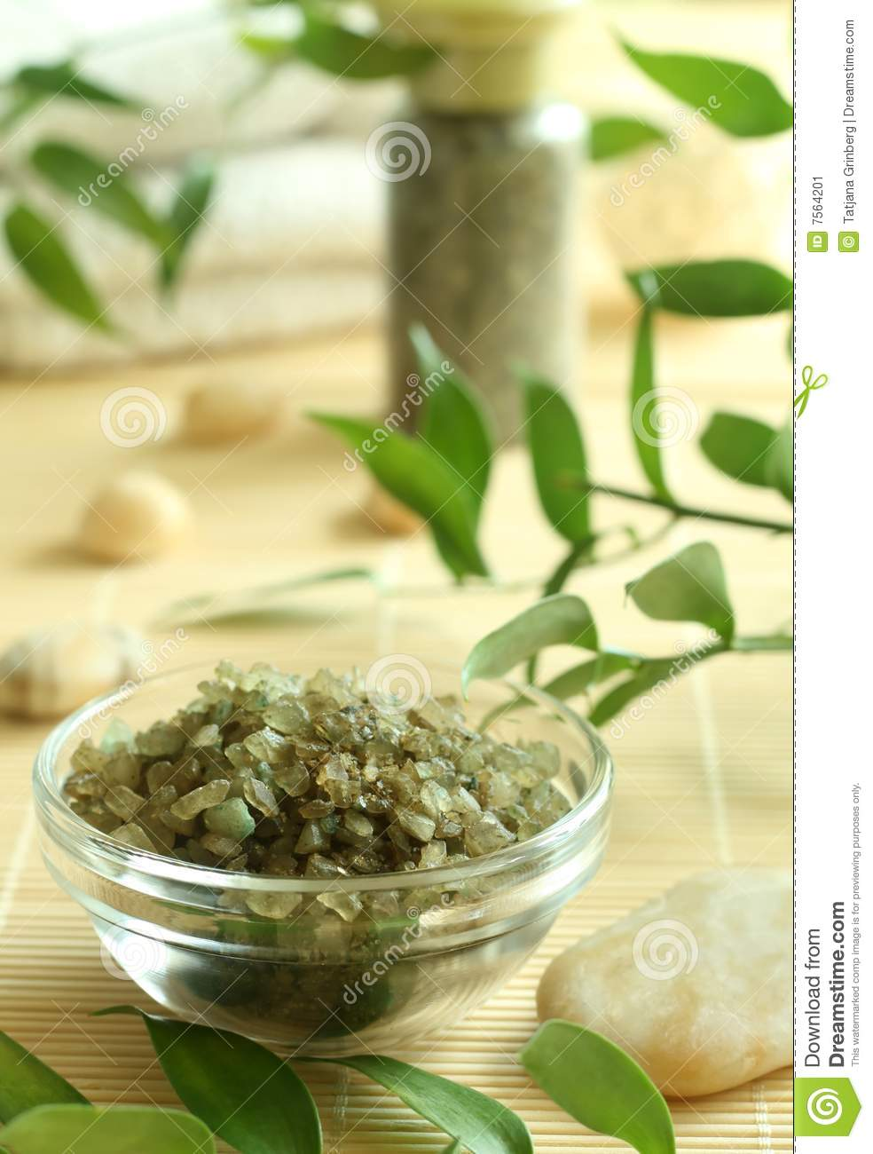 Spa Background Green Bath Salts Stock Image Image 7564201