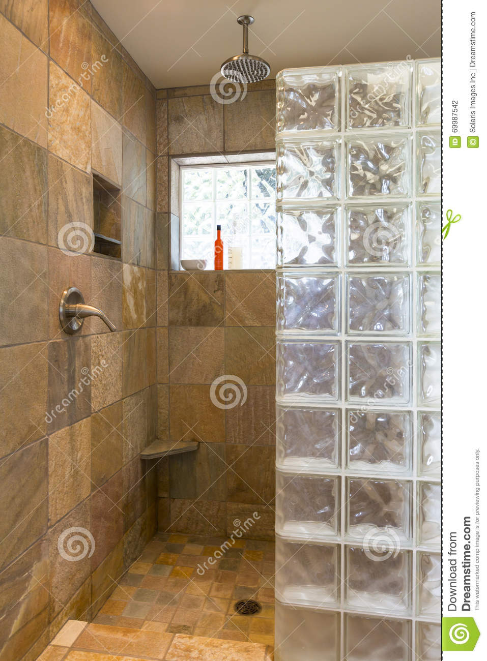 Spa Bathroom Shower Area With Stone Tile And Glass Block Walls In  Contemporary Upscale Home Interior