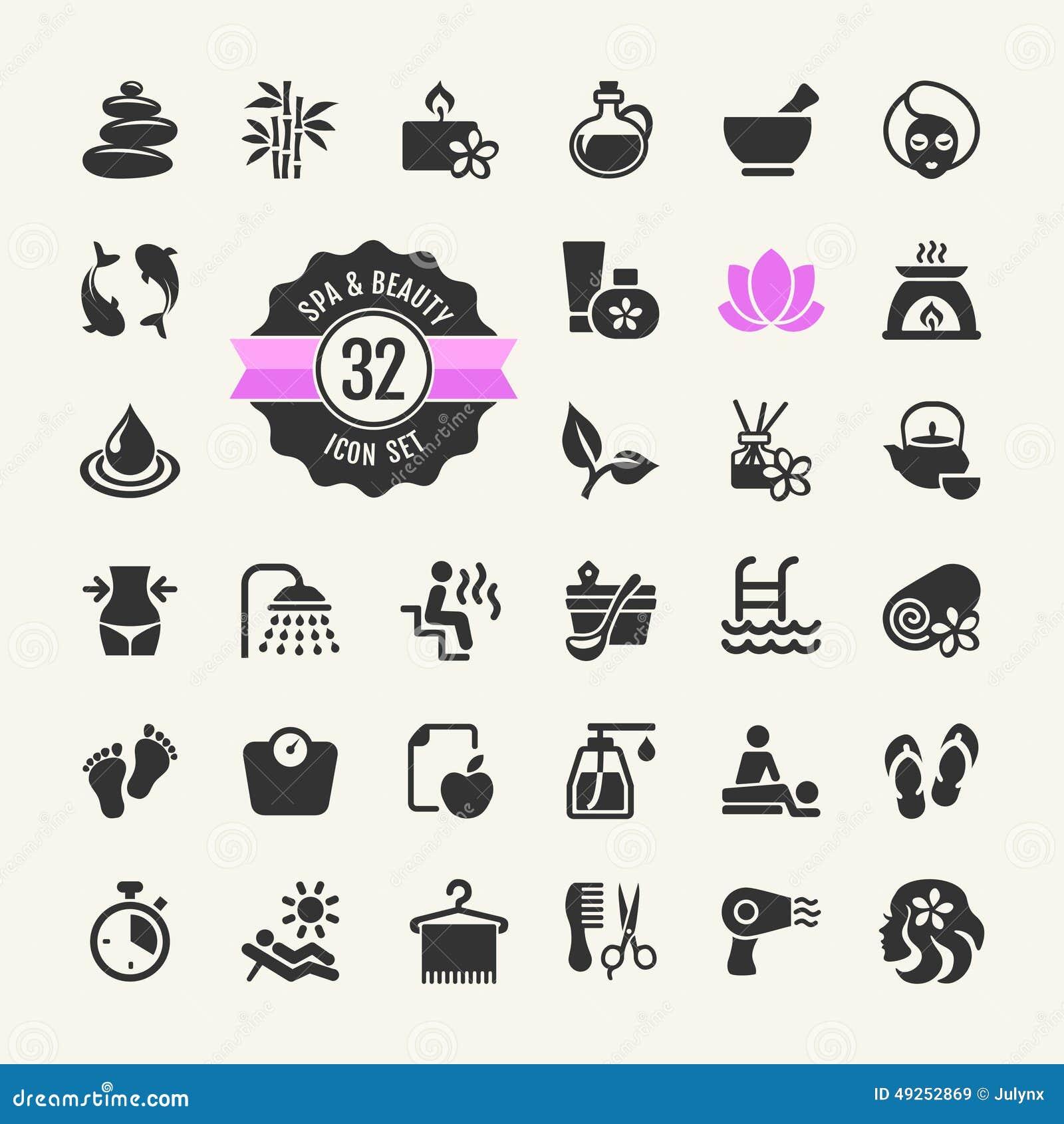 Spa Amp Beauty Icons Set Stock Vector Illustration Of Feet