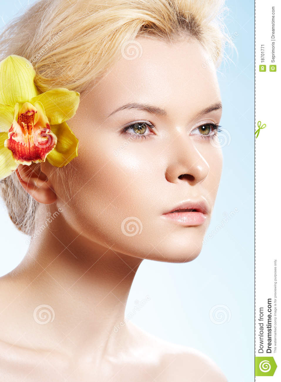 Spa beauty with orchid flower, wellness, skin care