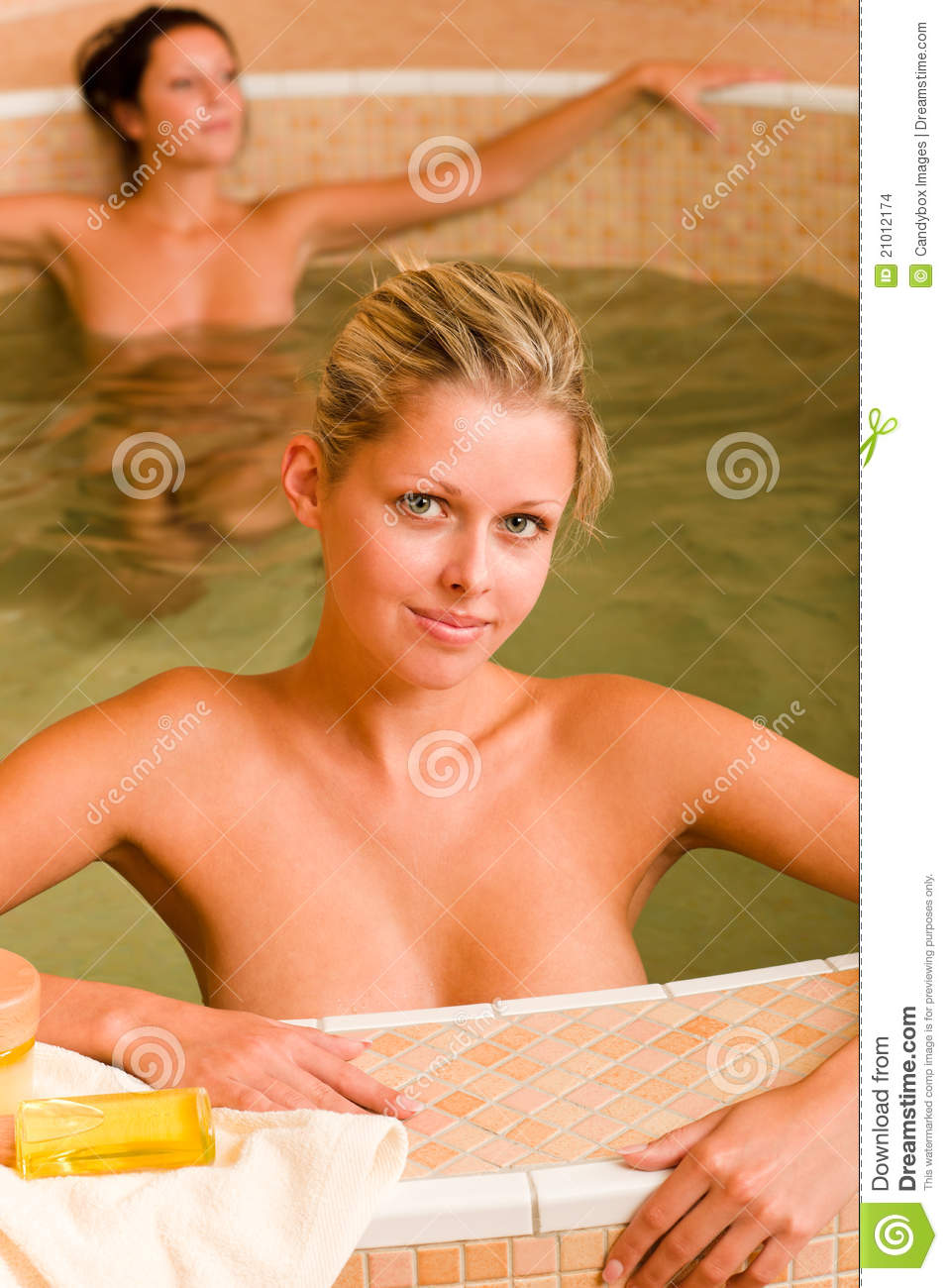 Spa Beauty Relax Pool Two Naked Women Stock Photo - Image -7635
