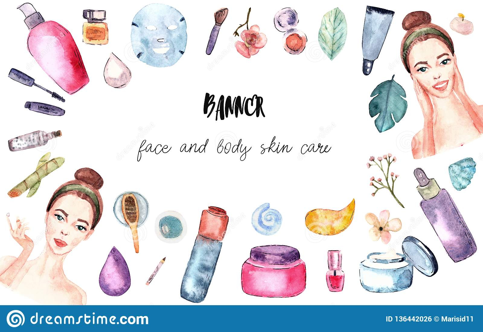 Spa And Beauty Salon Banner Watercolor Stock Illustration Illustration Of Girl Clear 136442026